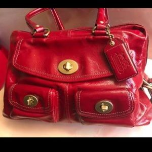 Coach Legacy 13051 Red Patent Peyton RETAIL $800